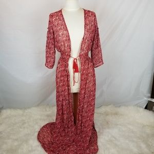 Red floral dress or kimono